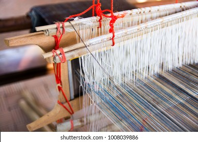 Weaving machine - Household weaving -  use for weaving traditional Thai silk. Weaving loom for homemade silk or textile production in Thailand