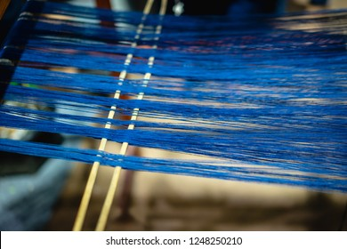 Weaving machine, Household weaving,  use for weaving traditional Thai silk. Textile production in Thailand