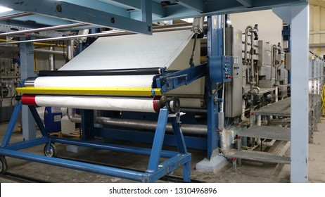 Weaving machines of the cotton factories. Production of textiles.