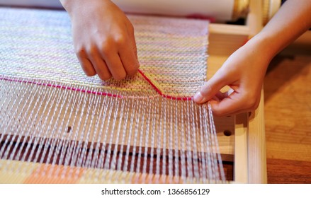 Weaving the rug with a weaving machine