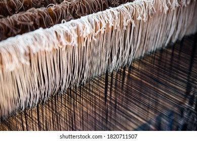 The weaving workshop and the loom there. National craft in Latvia.  Weaver Tools, Weaver products. Latvian tapestry, Traditional knitted latvian belt and tapestry (gobelin)