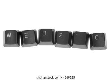 WEB 2.0 formed by keys of a computer keyboard