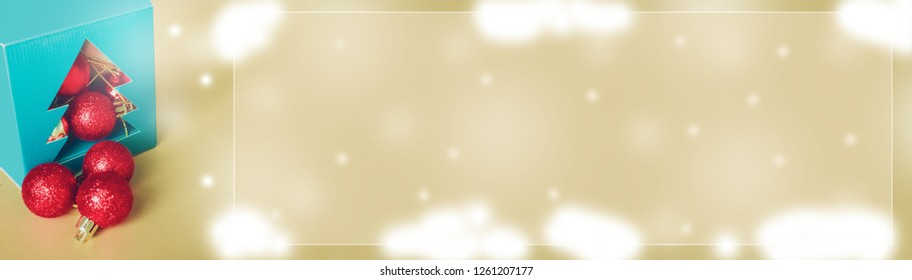 web banner design with elegant holiday party event and celebration concept for shimmer and shine gold and red ball decorate on gold glitter and snow background