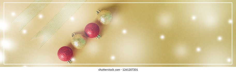 web banner design for elegant holiday party event and celebration concept for shimmer and shine gold and red ball decorate with ribbon on gold glitter and snow background