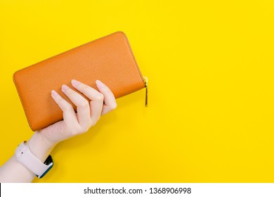web banner design for woman fashion in spring and summer concept with beauty woman hand hold modern brown leather purse or wallet in left hand with yellow pastel background