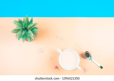 web banner freshness fruit and drink in summer season concept from minimal flat lay diet food with pineapple and tropical flower lay on pastel yellow blue background