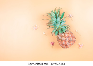 web banner freshness fruit and drink in summer season concept from minimal flat lay pineapple and tropical flower lay on pastel yellow blue background
