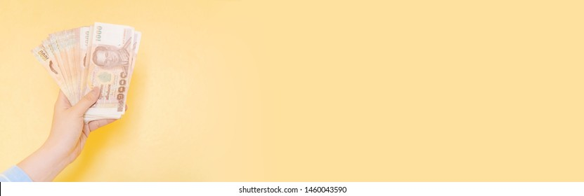 web banner home business and job success concept from beauty hand of woman hold  and show lot of banknote with yellow pastel background