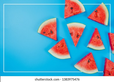 web banner and minimal flat lay creative design for group of summer fruits with fresh watermelon and pine apple on pastel color background
