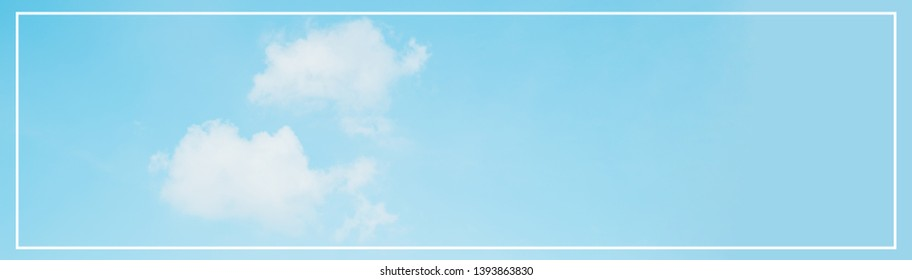 web banner spring and summer season with beauty clear and bright sky and cloudy background with copy space