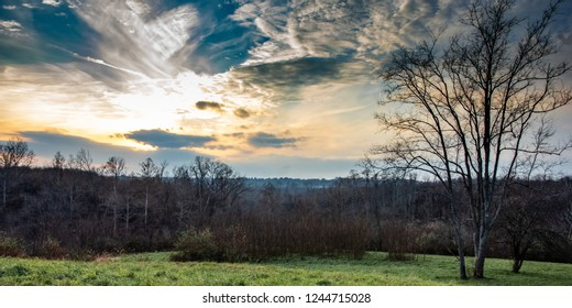 Web banner of sunset as viewed from a ridgetop in Appalachia in November