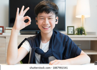 Web cam video call picture of a handsome young asian teenager boy's face smiling and show OKAY hand sign to his distance friend through online chat application. Covid-19 pandemic lockdown. New normal