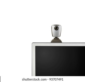 web camera on monitor isolated on white