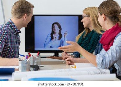Web conference - business people having online meeting
