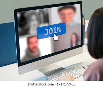 Web conference for teleworking during quarantine pandemic screen application view of purposely blurred employees in video call virtual meeting, one coworker about to join team discussion online using