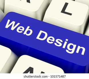 Web Design Computer Key Shows Internet Or Online Graphic Designing