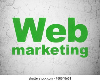 Web design concept: Green Web Marketing on textured concrete wall background