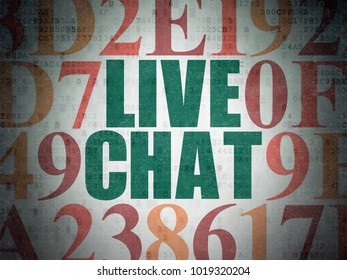 Web design concept: Painted green text Live Chat on Digital Data Paper background with Hexadecimal Code