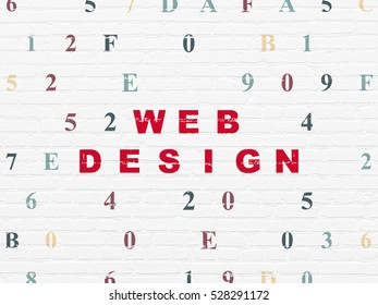 Web design concept: Painted red text Web Design on White Brick wall background with Hexadecimal Code