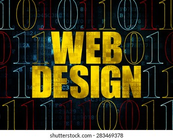 Web design concept: Pixelated yellow text Web Design on Digital wall background with Binary Code, 3d render
