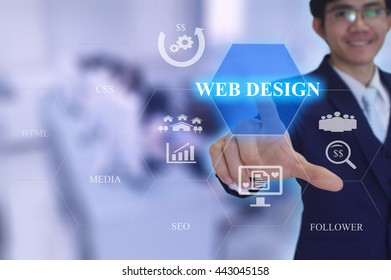 WEB DESIGN concept presented by  businessman touching on  virtual  screen