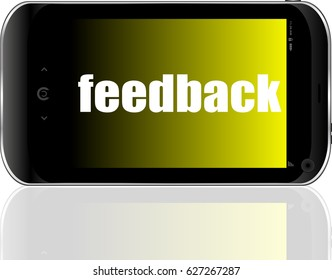 Web design concept. Smartphone with text Feedback on display