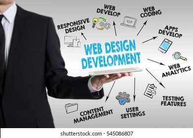 Web Design and Development concept, young man holding a tablet computer