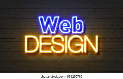 Web design neon sign on brick wall background