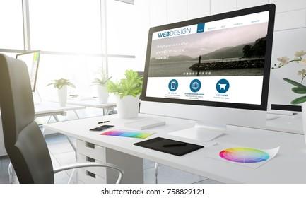 web design studio 3d rendering