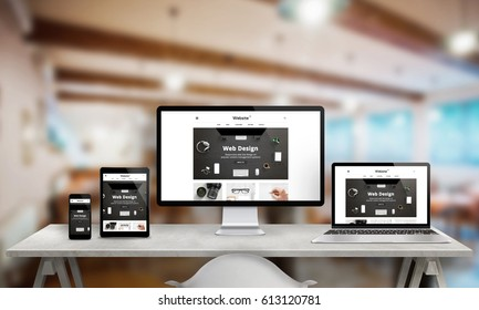 Web design studio promotion on multiple devices. Responsive web site on computer display, laptop, tablet and smart phone. Modern clean design with clean creative images.