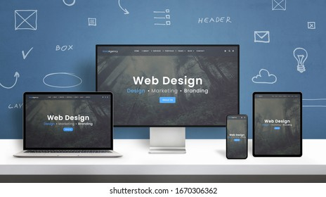 Web design studio web site responsive design presentation on computer display, laptop, smart phone and tablet. Blue wall with web design concept elements