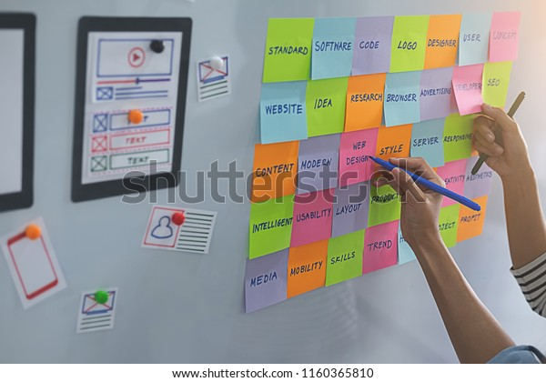 Web Designer Brainstorming Strategy Plan Colorful Stock Photo (Edit