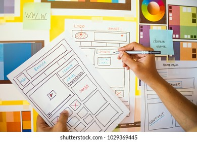 Web designer drawing develop planning  Creativity Editor Ideas layout Template content