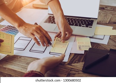 Web designer meeting  planning application for mobile phone. Design Online Technology Content, Ideas Proposal Strategy Tactics Vision Design Concept
