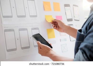Web designer, UX UI designer planning application for mobile phone.