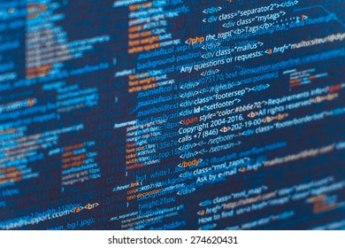 Web developer HTML code with CSS on screen. Abstract web script code. Dark blue color vector background