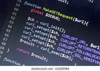Web developer PHP code close up. Making network requests code. Abstract information technology modern background. Concept screen of experienced web developer.