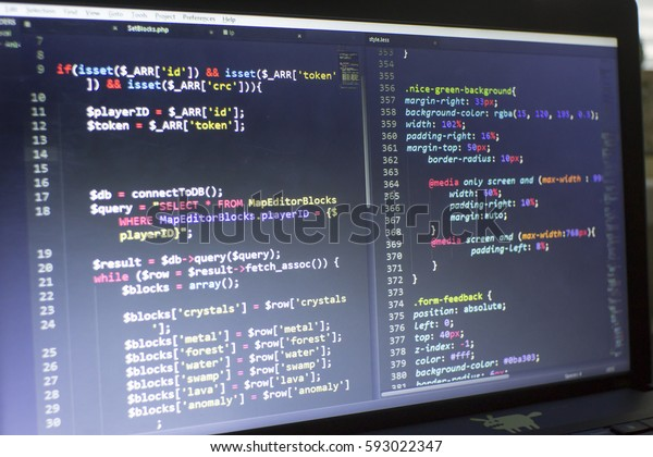 Web Developer Php Css3lesssass Code Close Stock Photo (Edit Now