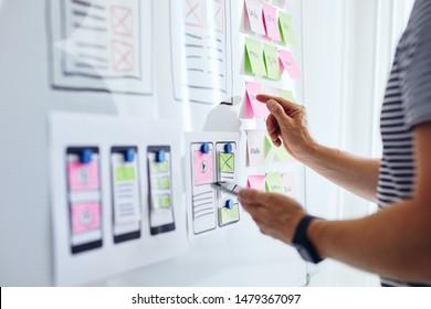 Web developer planning application for mobile phone on whiteboard