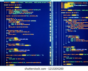 Web developing on the php language. Colorful php code on blue background in code editor