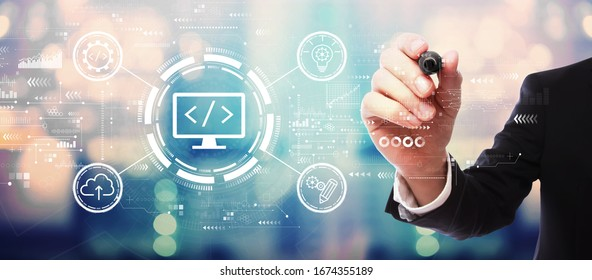 Web development concept with businessman on blurred abstract background