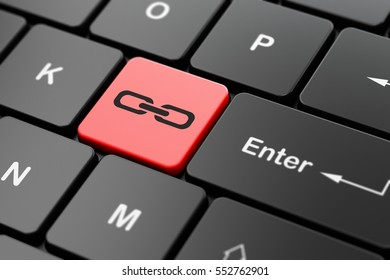 Web development concept: computer keyboard with Link icon on enter button background, 3D rendering