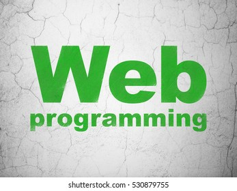 Web development concept: Green Web Programming on textured concrete wall background