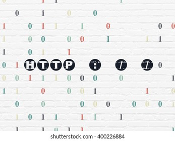 Web development concept: Painted black text Http : / / on White Brick wall background with Binary Code