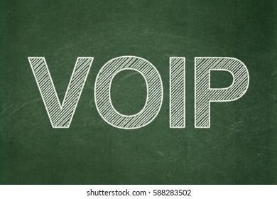 Web development concept: text VOIP on Green chalkboard background