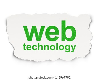 Web development concept: torn paper with words Web Technology on Paper background, 3d render