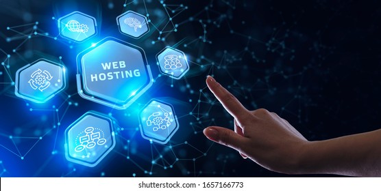 Web Hosting. The activity of providing storage space and access for websites. Business, modern technology, internet and networking concept.