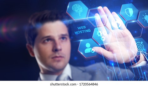Web Hosting. The activity of providing storage space and access for websites. Business, modern technology, internet and networking concept