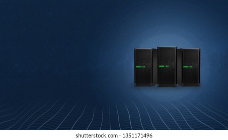Web hosting servers. Copy space on left side for text. Network threads at bottom.