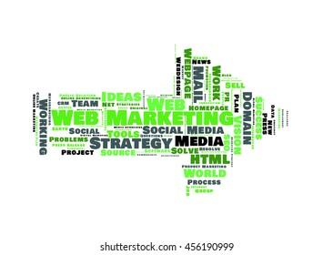 Web Marketing word cloud shaped as a arrow